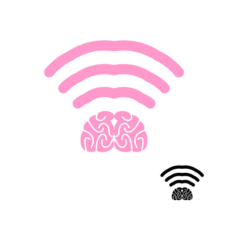 wireless lan: WiFi brain. Wi-Fi brain icon. Wireless transmission of mind. Remote access to knowledge of brain. Wireless LAN knowledge, mind. Wi Fi intellect flat icon.
