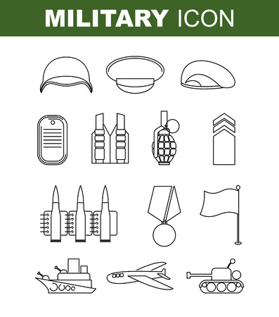 green beret: Military line icon. Set army symbol. Soldiers helmet. Green beret. Tank and battleship. Medal for bravery and Flagstaff. Cartridge belt and  bursting grenade. Illustration