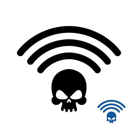 muerte: Wifi muerte. La transmisión inalámbrica de la muerte. El acceso remoto a la muerte. Wi-fi cráneo LAN inalámbrica. Wi fi Icono asesinato icono plana. Las ondas negras de información procedentes de la cabeza del esqueleto.