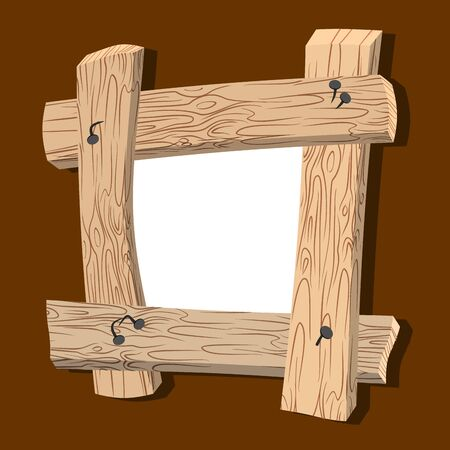 Frame is made of wood. Wooden boards and old nails. Vintage homemade photo frame. Illustration