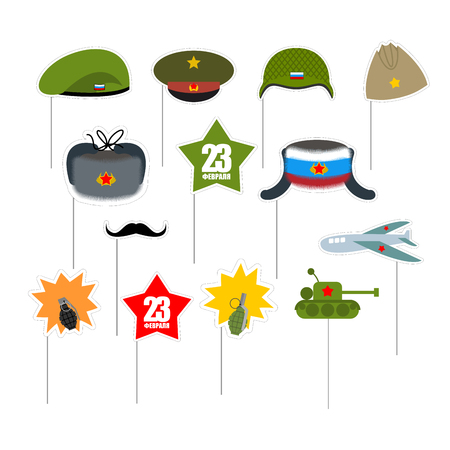 military helmet: 23 February. Set photo props for photo shoot. Elements for photographing. Defender of fatherland day in Russia. Military equipment and clothing items soldiers. Green Beret and moustache. Helmet on a stick. Star and airplane. Tank and hand grenade.