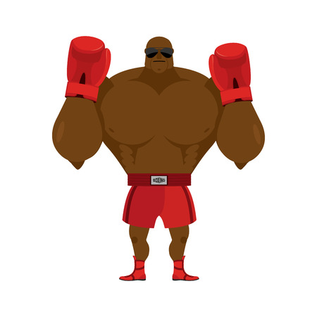 shirtless: African American boxer. Fighting stand. Strong champion raised his hands up. Red Boxing Glove. Clean gloves. Boxer Greeting in ring before fight. Athlete in sportswear. Illustration