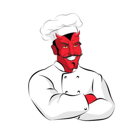 satan: Hölle von Cook. Devils Küche. Satan in Chef Cook. Chef Dämon mit Hörnern. Red Beelzebub Kochen im Restaurant. Scary Profiküche Arbeiter. cook-Sünder