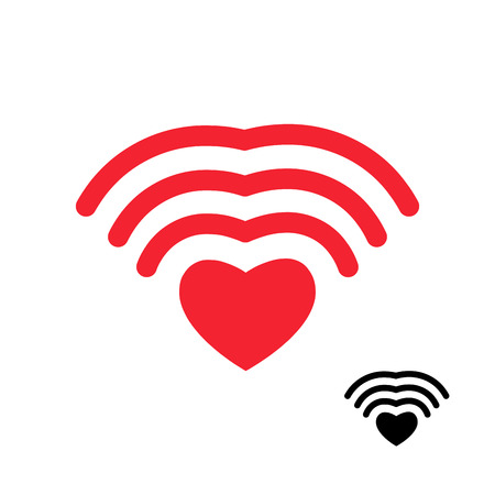 love icon: Wifi and heart. Wireless transmission of love Wi fi. Remote access to romantic feelings. Internet love. Wi-fi Icon attraction to another person. Illustration for Valentines day.