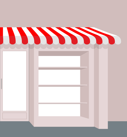 storefront: Storefront with striped roof. Red and white stripes of canopy over counter. Element of  building.