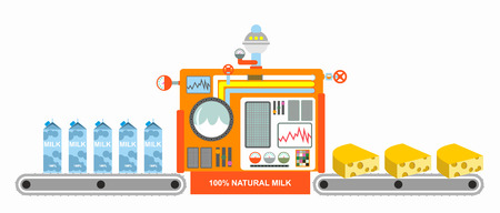 Milk and cheese. Conveyor for manufacture of dairy cheese. Technological equipment for manufacture of dairy product. Yellow piece of cheese and milk packaging. Technology for production of cheese.