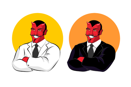 underworld: Devil in business suit. Red demon in white jacket. Satan with horns in black clothes. White shirt and black tie. Director of underworld Sheol. Chief of hell. Master in fires of hell. Satan with black moustache and smile.