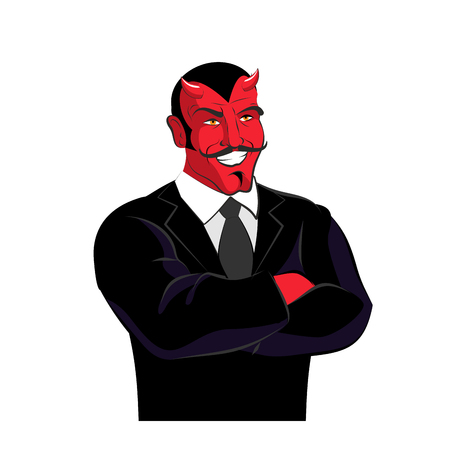 swindler: Devil in black business suit. Satan businessman. Red lucifer with mustache. Horned Demon laughs. Illustration