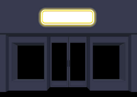 newsstand: Night shop. Convenience store. Storefront at night. Empty black counters. Shining sign on facade of store.