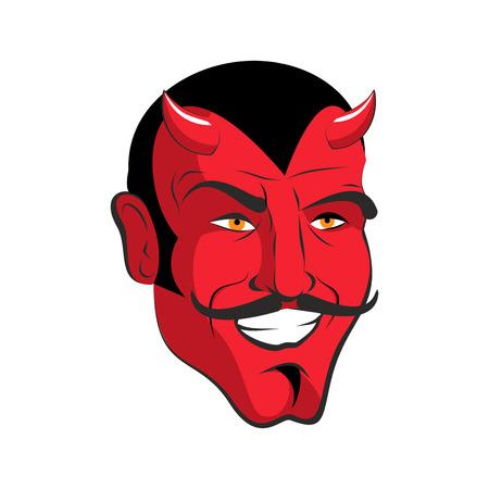 satan: Diablo rojo. Feliz cabeza roja demonio con cuernos. Satanás, con bigote. Mefistófeles en la sonrisa.