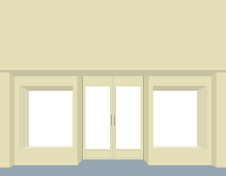 storefront: storefront. Empty Storefront. Clean store windows. Front group for store design. facade of a store Illustration