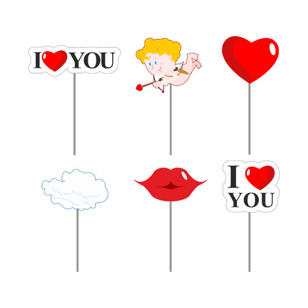 photo shoot: Valentines day photo props . Paper elements of love for photo shoot. February 14 lovers day. I love you. Lips and cloud. Cupid and kiss. Big red heart. Illustration