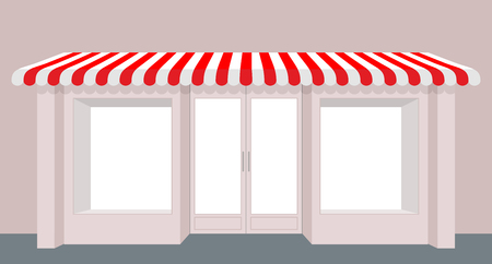 showcase: Showcase shop. Rose Shop building. Striped awning store. Facade of new store. Windows and doors.