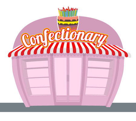 hollow wall: Confectionary shop. Sweets shop. Signage celebratory cake. Fun sweets and cakes bakery in  rear. Confectionary showcase.