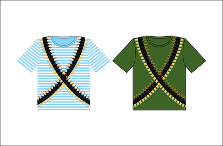 gunfire: T-shirt with print cartridge belt. Clothing for Festival on February 23. Holiday in Russia. Defender of  fatherland day. Clothes of soldier and sailor. Green t-shirt and vest. Striped clothing.