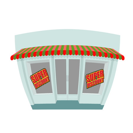 storefronts: Storefront. Super discount. Great discount window shop. Funny shop in cartoon style. Sales in shop. Building with storefronts. Illustration