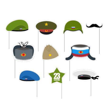 military beret: 23 February Photo props. National holiday in Russia. Defender of fatherland day. Military hat and peakless Cap. Hats soldiers. Green and blue beret. Mustache and green star.