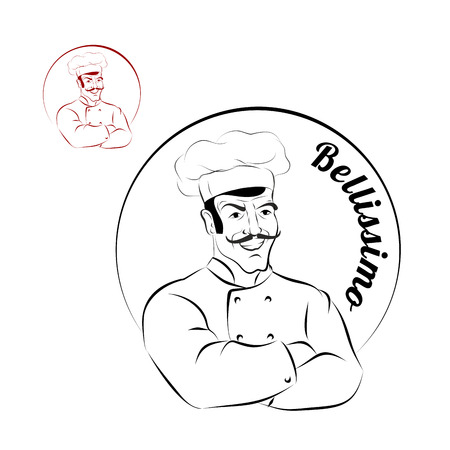 italian chef: Italian chef. Icon for restaurant. Bellissimo. Sign for a bakery or Cafe. Chef with crossed hands. Professional Cooking meal.