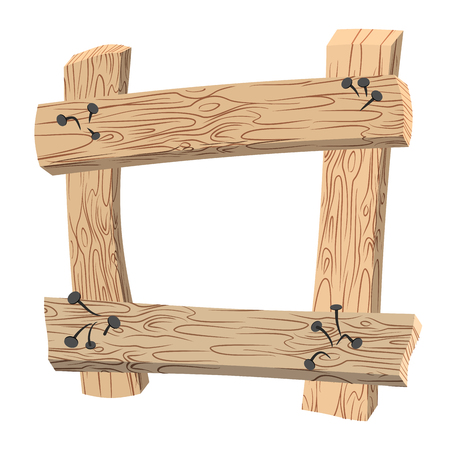 wooden stick: Frame of Old planks. Old wooden boards. Rusty nails curves and wooden stick. Illustration