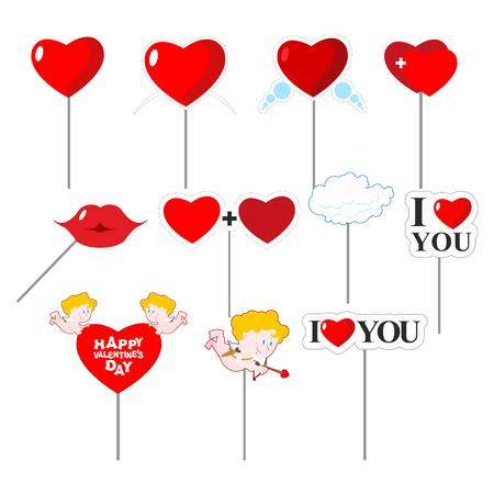 バレンタインの日の写真撮影の写真の設定小道具。撮影するための要素です。.赤いハートと唇。キスとキューピッドの弓で。クラウド。愛していま  イラスト・ベクター素材