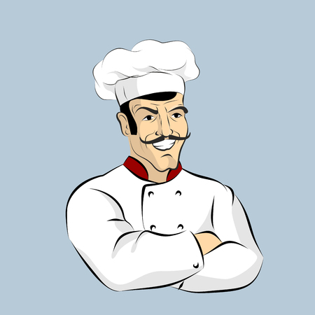 italian chef: Italian chef Cook with  mustache. Professional Cooking. Kitchen worker in a white dress. Character for restaurant or Cafe. Man in pot Cap crossed hands