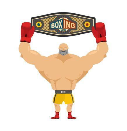 boxeador: campeón de boxeo sostiene la correa. Ganador en concursos y premios de boxeo. cinturón de campeones. Boxer y Campeonato premio. Competiciones más fuertes hombre Vectores