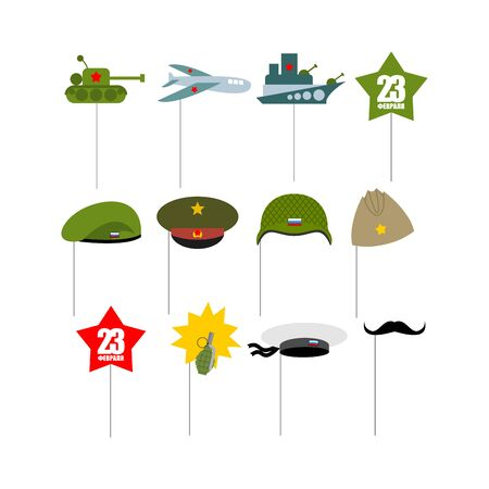 green beret: 23 February. Set photo props for photographing. Paper items military accessories for photo shoot. Day of defenders of  fatherland. Tank and plane. Warship and green beret. Pomegranate and whiskers.