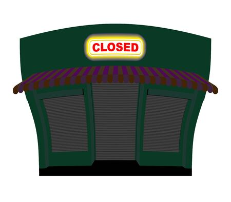 chippy: Shop is closed. Glow plaque on facade of store. Shop building at night. Windows and doors are closed. Illustration