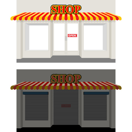 storefront: Shop by day and night. Storefront at dusk. Shop window in Sun. Shop is open. Sign shop is closed. Closed window showcases blinds. Illustration