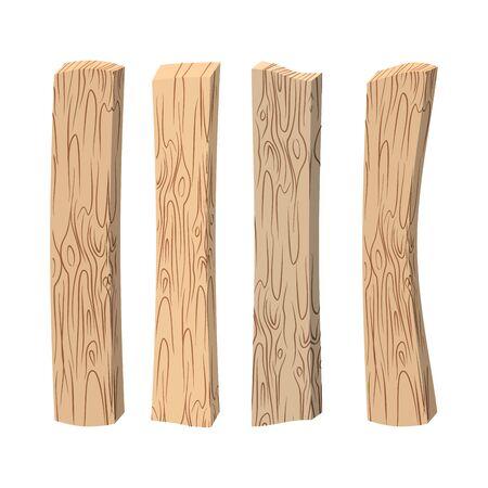 tableros de madera vieja. Madera situado en el fondo blanco. tableros de la vendimia. Ilustración de vector