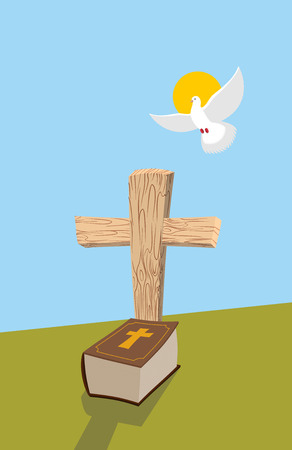 christian cross and wings: Cross and Bible. Christian grave. Soul of man in form of white dove flies in  heavens. Allegorical figure of religious theme