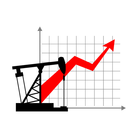 grow up: Graphic growth  and oil rig. Oil quotations grow up. info graphic Oil production. Red arrow price increase of petroleum products on market. Business illustration.Oil pump Schedule for presentation. Illustration
