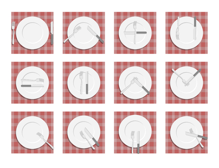etiquette: Signs for waiter in the restaurant. Dining etiquette. Cutlery on napkin. Cutlery etiquette.