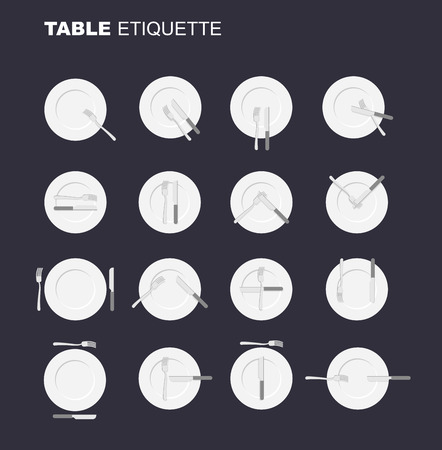 etiquette: dining etiquette unofficial version. 16 characters to restaurant etiquette. Rules in public eating establishment. Cutlery etiquette. Good manners in society. An empty plate top view. Knife and fork.