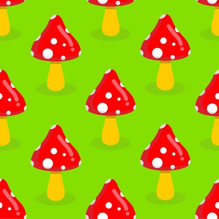 amanita: Amanita seamless pattern. Red mushroom with white spots. Toxic poisonous mushroom ornament. Illustration
