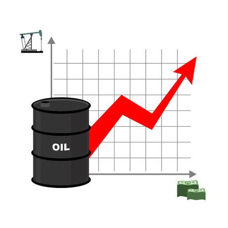 oil rig: Graph of oil and dollars. Barrel with oil and bundles of cash. Dependence of amount of oil from sale. Barrel of oil. Oil reserves. Red arrow is growing up. Business illustration for presentations and meetings. Rise of crude oil in world.