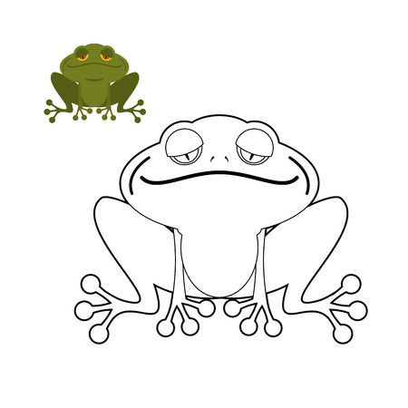 rana: Frog coloring book. Funny amphibious reptile. Animal from  swamp. Green Toad. Illustration