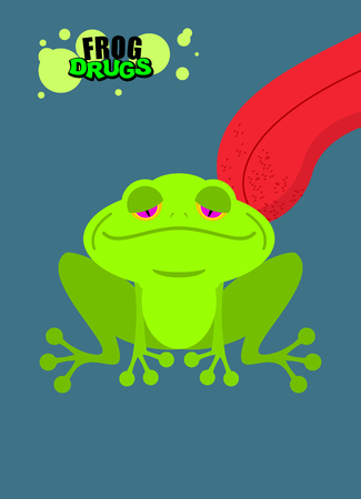 addict: Narcotic frog. Acid Toad. Narcotic amphibious. Tongue licking addict Psych frog. Toxic hallucinogenic Frog for addicts. Drugs green frog