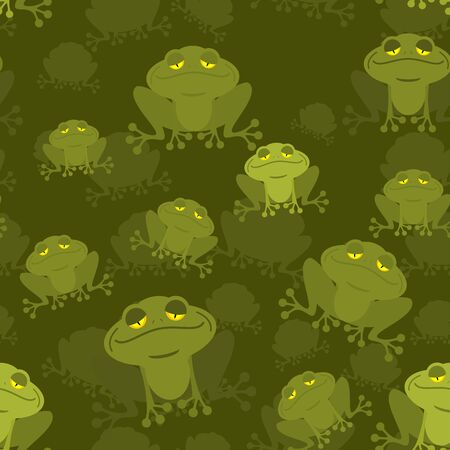 amphibious: Frog seamless pattern. Green Toad in swamp. Many Amphibious animal texture. Green swamp Reptile. Illustration