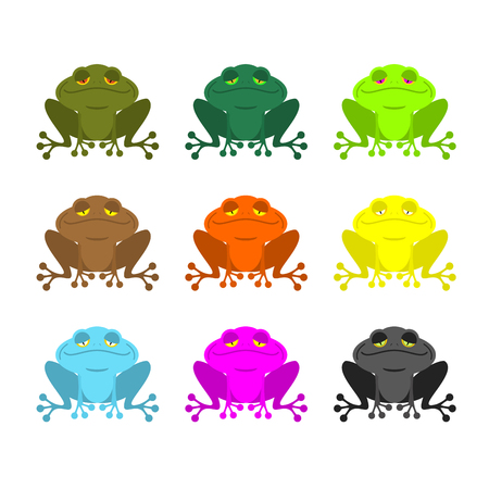 webbed: frog color Set . Colored toads. Woody Orange frog. Yellow and blue fantastic amphibious frog.
