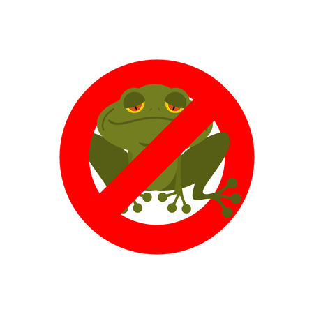 restrictive: Stop frog. Red forbidding sign for green amphibian. Sign ban for toads and frogs.