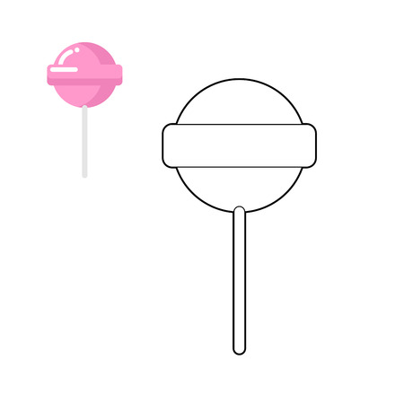 Lollipop coloring book. Pink round sweets for children. Sweet strawberry flavor.