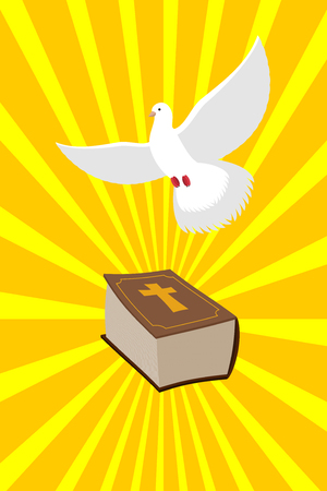 emanate: Bible and White Dove symbols of Christianity. Pure white dove brought  Holy Bible. Old book of  New Testament and white bird. Rays emanate from book. Rays of divine light. Illustration