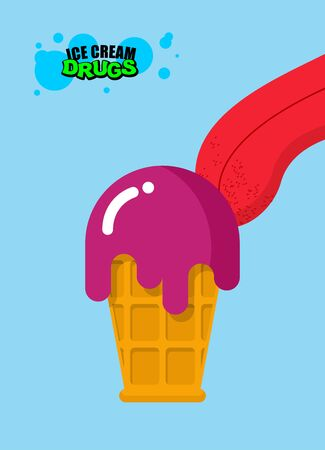 drogadiccion: Las drogas helado. helado de ácido. Dulzor para los adictos. alimentos de drogas. Lengua lamiendo adicto al helado con drogas. dulces tóxicos para los adictos
