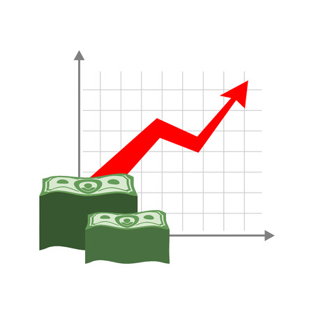 amount: Graph growth money. Red up arrow. Increase in cash profit. Bundle of dollars. Increase amount of money savings. Element for business infographic Illustration