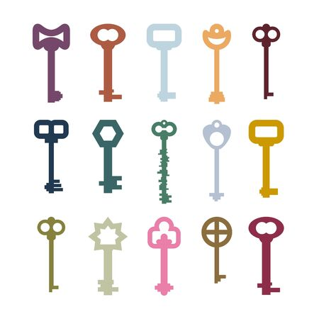 clues: old vintage keys set. Color clues from ancient castles. Door vintage key collection Illustration