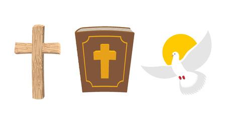 Sainte Bible, croix de bois et White Dove Christian jeu de symboles. Vieux livre divin. croix antique. Voler oiseau blanc est le symbole de l'âme humaine.