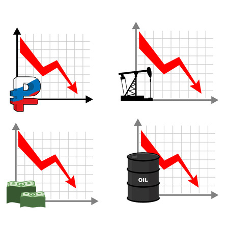Fall rates of rouble and oil. Red down arrow. Reducing cost of barrels of oil. Reduction quotes Russian currency, money. Decline in  market for cash. Set graph for business infographics. Illustration