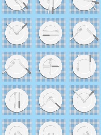 etiquette: Dining etiquette seamless pattern. Background for menu of restaurant and Cafe. An empty plate, knife and fork. Cutlery texture.