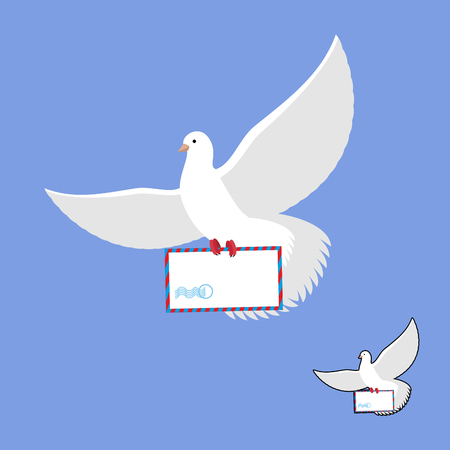 beak pigeon: Postal pigeon and mailing envelope. White Dove carries and mail. Flying bird in its message. Illustration